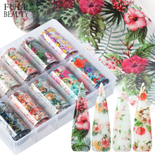 1Box Mixed Nail Foil Decals Set Floral Prints Transfer Adhesive Film Paper Colorful Flower 3D Charm Accessories Tips CHXKH40 54