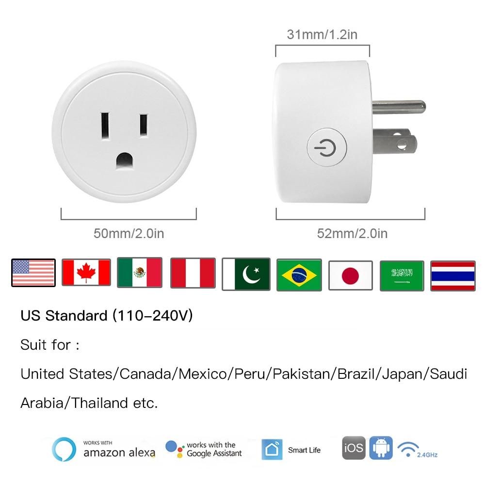Hf216edf9dd0f4216847c2a785904e60fp - FrankEver Mini US Wifi Plug with Surge Protector 110-240V Voice Control Smart Socket Work with Alexa Google Home Tuya APP