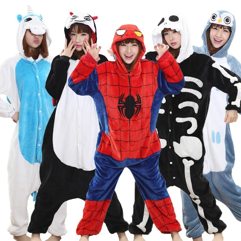 Spiderman Kigurumi Costume Onesie Adult Girl Women Flannel Warm Soft Animal Onepiece Winter Jumpsuit Anime Cosplay