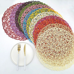 Round Placemat Heat Resistant Braided Table Mat for Dining Table Coasters Rope Braided Pad Table Decor Heat Resistant^^