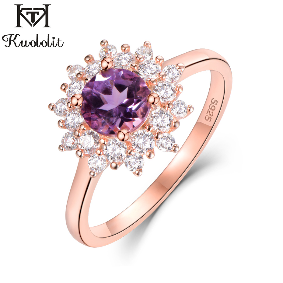 Kuololit Natural Amethyst Gemstone Rings For Women 925 Sterling Silver Round Cut Stone Rose Gold Ring Wedding Gifts Fine Jewelry