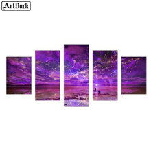 Five spell diamond painting purple starry sky full square 5d mosaic embroidery living room decorative