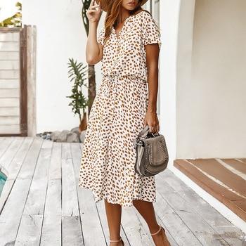 Dots Print White Summer Dress Women