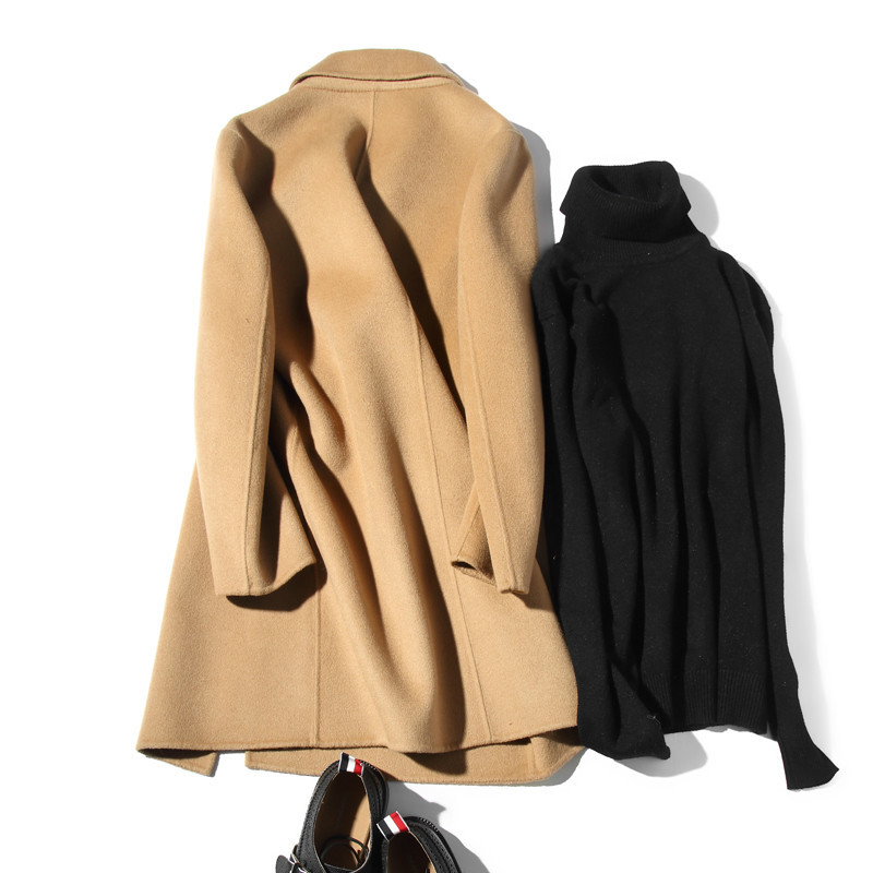 100%Wool Coat Handmade Double-sided Spring Autumn Long Man Jacket Plus Size Coat Ocercoat Erkek Kaban LM18-1011 KJ1559