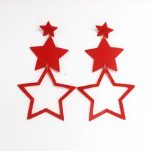 Long Star Earrings Acrylic Women Exaggerated Hip Hop Night Club Jewelry