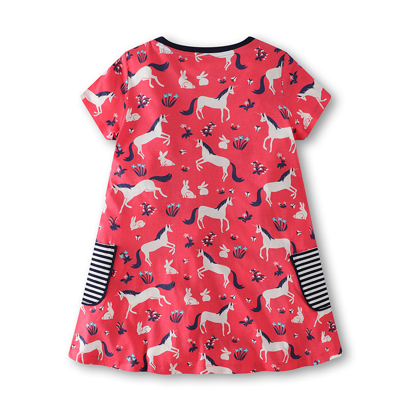 Bongawan Girls Dresses Unicorn Print A Line Princess Dress for Party Fashion Kid Summer Clothing 2 12 Years in Dresses from Mother Kids