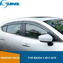 Deflectores de ventana lateral para MAZDA 3, 2011, 2012, 2013, 2014, 2015, 2016, 2017, Hatchback/Sedan, Deflector de lluvia y protección de sol, SUNZ