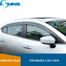 MAZDA 3 용 사이드 윈도우 디플렉터 2011 2012 2013 2014 2015 2016 2017 2018 Hatchback / Sedan Sun Rain Deflector Guards SUNZ