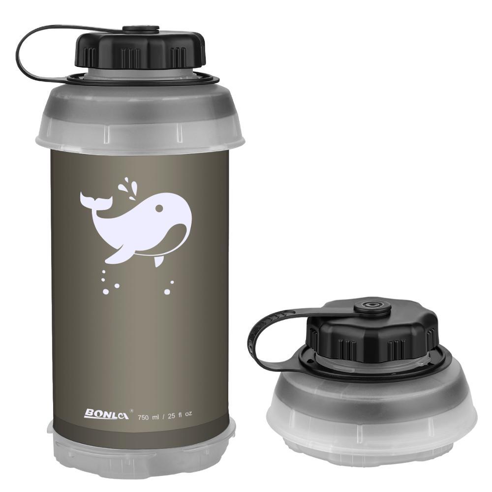 Botella de agua plegable de 750 ml, portátil, plegable, plegable, ligera, compacta para Camping, senderismo, escalada, botella de agua