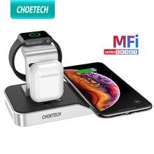 CHOETECH 4in1 7.5/10W MFi 인증 무선 충전기 도킹 스테이션 아이폰 XS/Xr/X/8 iWatch 시리즈 1/2/3/4 AirPod