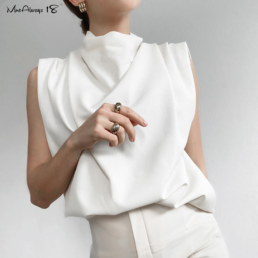Mnealways18 Turtleneck White Summer Top Sleeveless Drape Loose Office Tops Women Fashion 2020 Solid Elegant Vest Ladies Tank Top