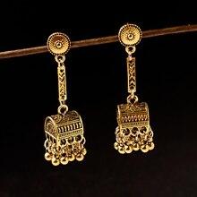 """TopHanqi, женские античные золотые серебряные индийские серьги, египетские цыганские турки, этнические украшения в стиле """"Бохо"""", винтажные маленькие колокольчики, висячие серьги с кисточкой"""