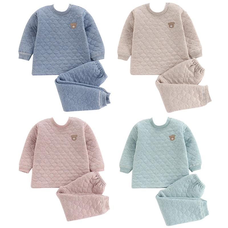 Warm Children's Winter Cartoon Bear Pattern Quilted Thick Warm Comfortable Casual Three-layer Thermal Underwear   Set