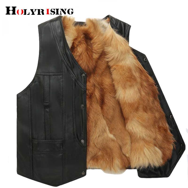 Mężczyźni zimowa kamizelka taktyczna kurtka masculino prawdziwy Fox futerka skórzana kamizelka futro kurtka i płaszcz ciepła moda kamizelka 19063-5