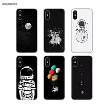 For Samsung Galaxy S2 S3 S4 S5 Mini S6 S7 Edge S8 S9 S10 Lite J4 J6 Plus 2018 Europe Space Moon Astronaut Transparent TPU Covers(China)