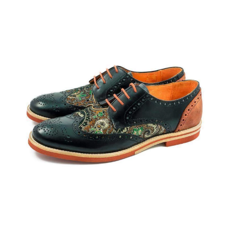 Brogue New High Quality Genuine Leather Color Mixing Men Brogues Shoes  Mens Loafers Leather  Zapatos De Hombre D316