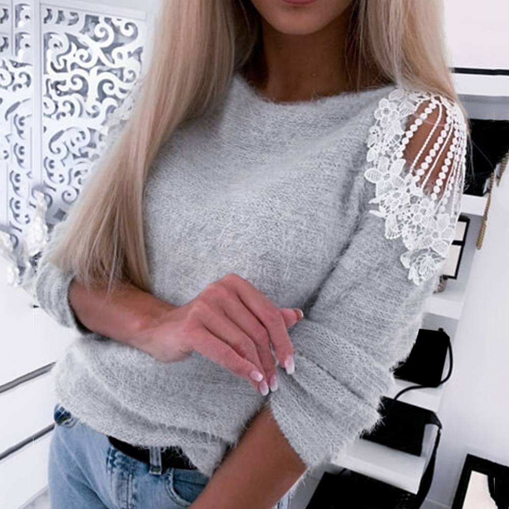LASPERAL V Nect Knitting Winter Sweater Women Cold Shoulder Casual Pullover Female Fashion Streetwear Pull Autumn Jumper 2020