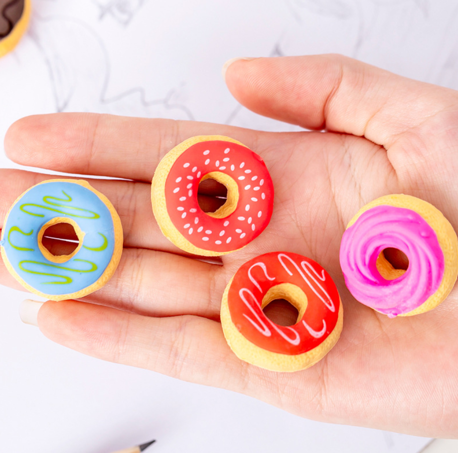 Cute 3d Cream Doughnut  Pens Eraser Set Kawaii Pencil Erasers For Kids Rubber Stationery School Supplies Student Prizes Gifts
