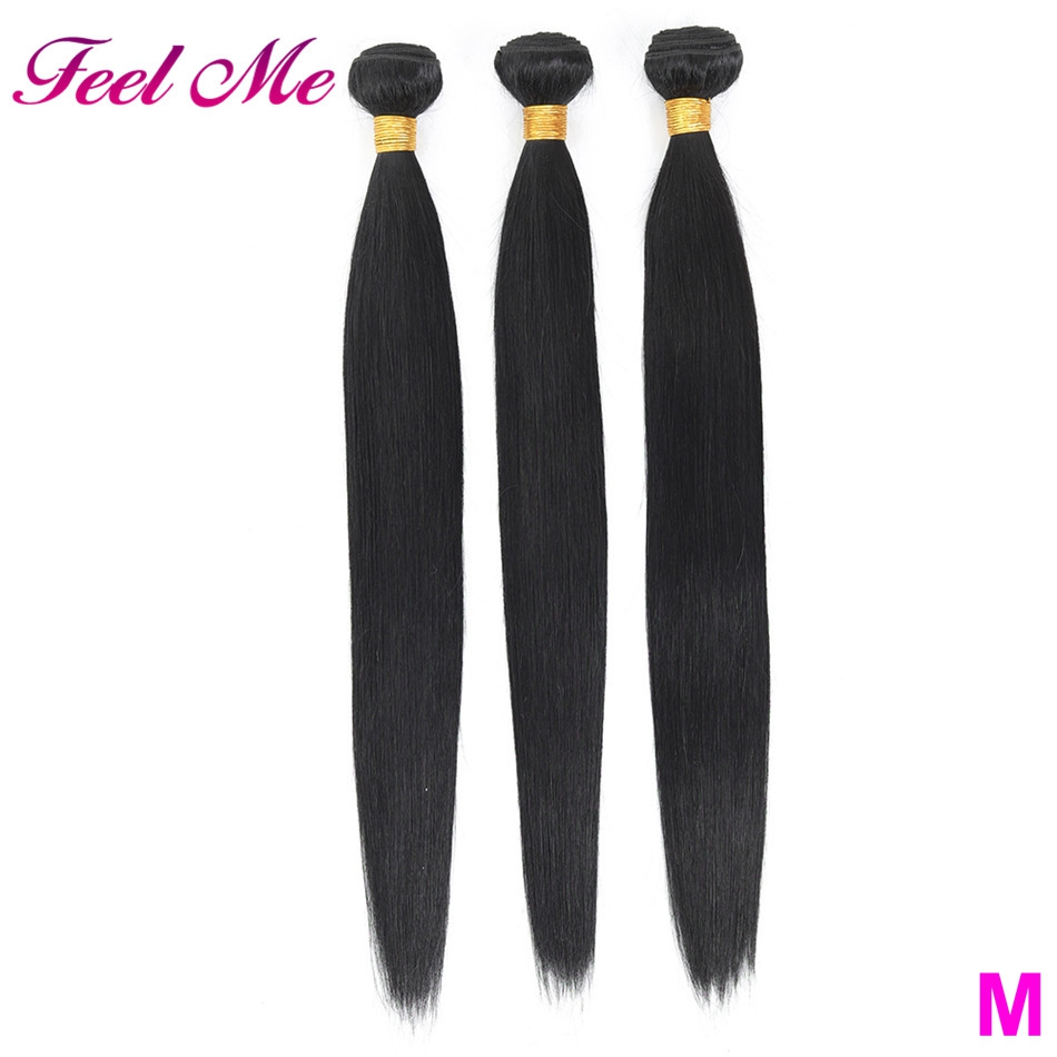 Brazilian Straight Human Hair Bundles 100% Human Hair Weave Bundles 8-30 Inch Non-Remy Middle Ratio 3/4 Bundles Hair Extensions