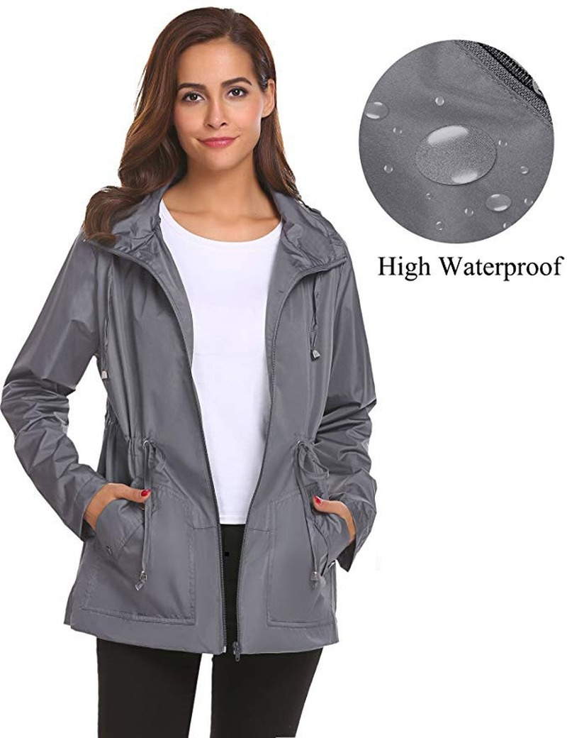 Autumn women windproof waterproof trench coat for light waist hooded femme sports