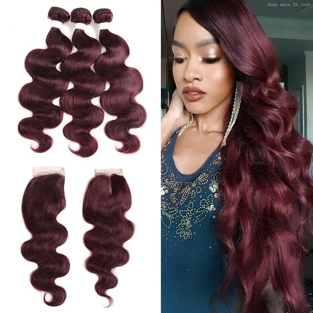 99j/borgonha onda do corpo pacotes de cabelo humano com fechamento 4x4 kemy cabelo brasileiro tecer pacotes com fechamento do laço não remy