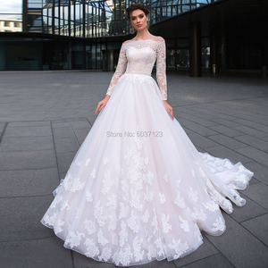 Image 1 - Ball Gown Wedding Dresses Long Sleeves Lace Appliques 2020 Off the Shoulder Robe De Mariage Court Train Wedding Bridal Gown