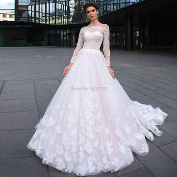 Ball Gown Wedding Dresses Long Sleeves Lace Appliques 2020 Off the Shoulder Robe De Mariage Court Train Wedding Bridal Gown - DISCOUNT ITEM  15 OFF Weddings & Events