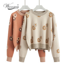 Autumn Women Crop Pullover Sweater Floral Sweater Girls Long Sleeve Knit O Neck Jumper C-287(China)