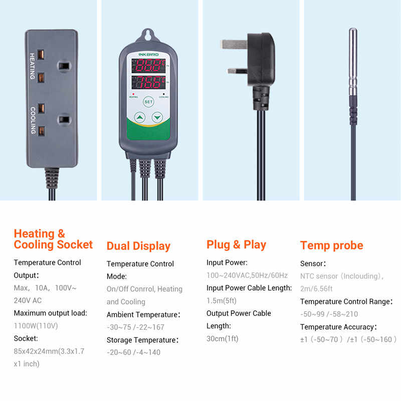 Inkbird ITC-308 WIFI Digital Temperature Controller EU US UK AU ปลั๊ก Thermostat, 2-STAGE,2200W,W/SENSOR สำหรับ Homebrewing