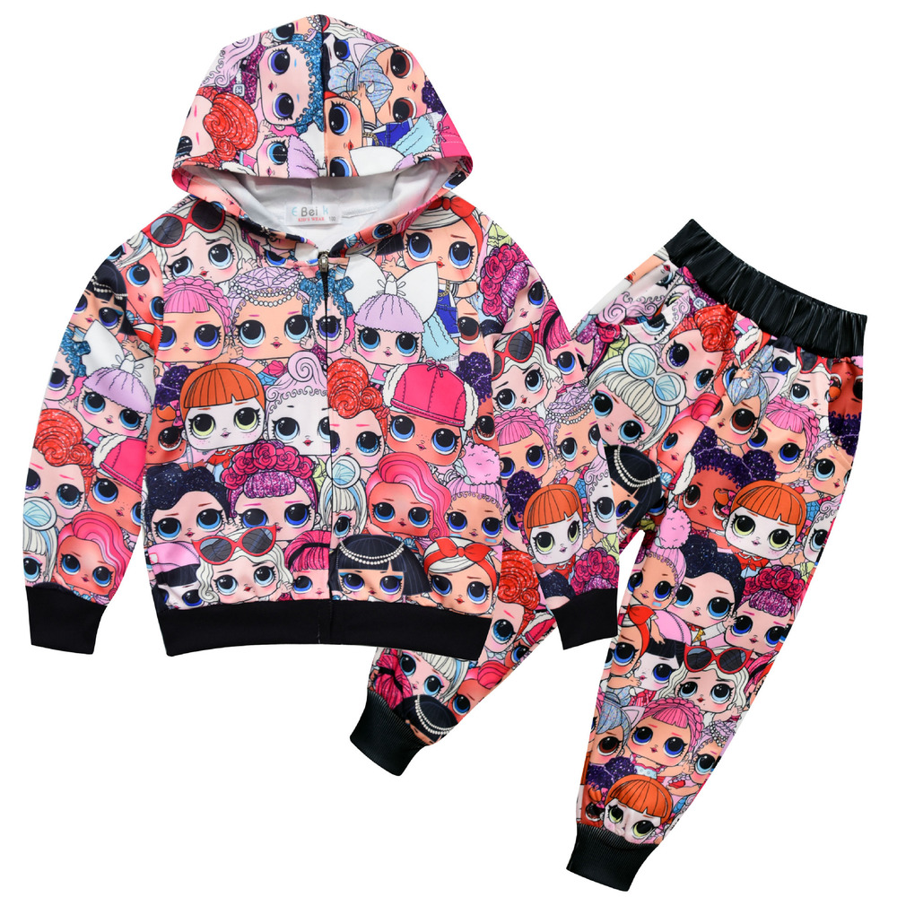 New Baby Girls Doll Clothing Set Winter Thick Cotton Clothing Sets for Baby Girls Lol Hoodies+Pants Kids Suit Children Clothes