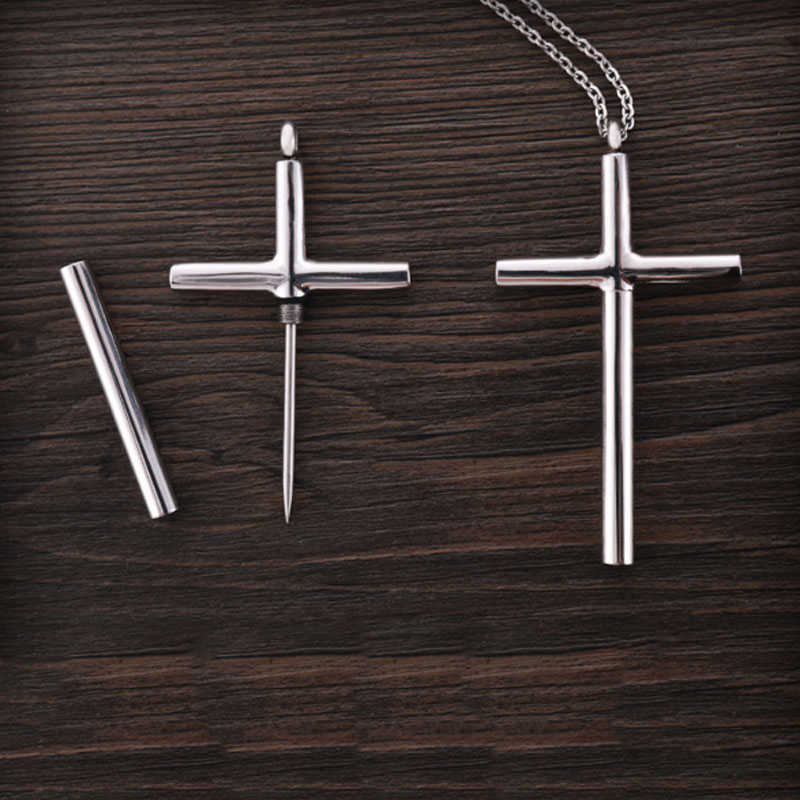 Universal Titanium Steel Toothpick Cross Necklace Personal Safety Supplies For Women Outdoor EDC Spike Anti-wolf Car Accessories