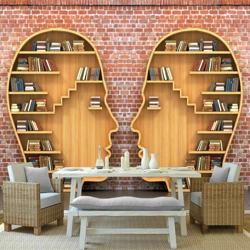 papier peint mural moderne brique rouge 3d bibliotheque de livres pour salon chambre a coucher bureau decoration de maison