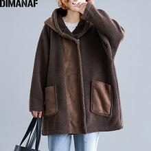 DIMANAF Plus Size Women Jackets Coats Cashmere Flocking Oversize Winter Outerwear Thicken Female Loose Hooded Vintage Clothes