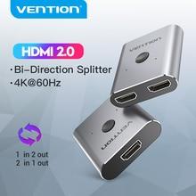 Vention hdmi switch 4k bi direção 1x 2/2x1 hdmi switch 2.0 divisor 2 em 1 para fora hdmi adaptador interruptor para ps4 tv caixa hdmi switcher