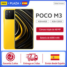 POCO M3 teléfono inteligente versión Globallos teléfonos móviles, 4GB y 64GB/128GB, Snapdragon 662, ocho núcleos, 6000mAh, cámara de 48MP, pantalla de 6,53 pulgadas, carga rápida de 18W almacén españa