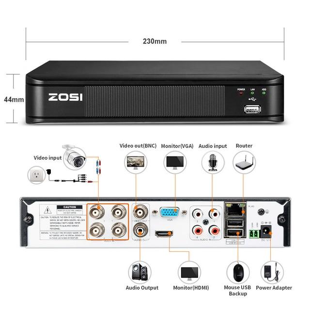 ZOSI 1080P 4CH TVI DVR AHD CVI TVI CVBS DVR 1920*1080 2MP CCTV Video Recorder Hybrid Mini DVR videcam Security System PTZ H.264