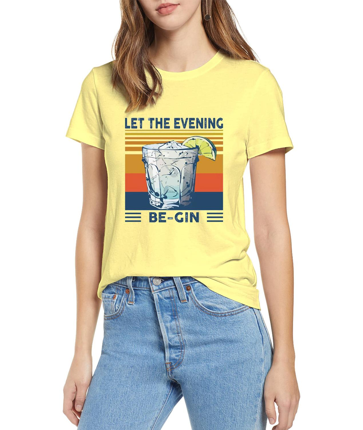 Martini Cocktail Let The Evening Be Gin Funny Vintage Men's O-Neck T-Shirt Cotton Tee new fashion women's thin sweaters image