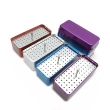 1pcs Aluminum Dental Disinfection Box Autoclave Sterilizer Case Burs Endo Files Holder 72 Holes For Burs Dentist Instrument dental sterilization autoclave cassette tray box rack rubber linker instrument clinic disinfection holder for 5 10pcs surgical