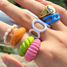 Colorful Dripping Oil Geometric Chain Open Cooper Rings For Women Candy Color Hand-painted Knuckle Rings Jewelry