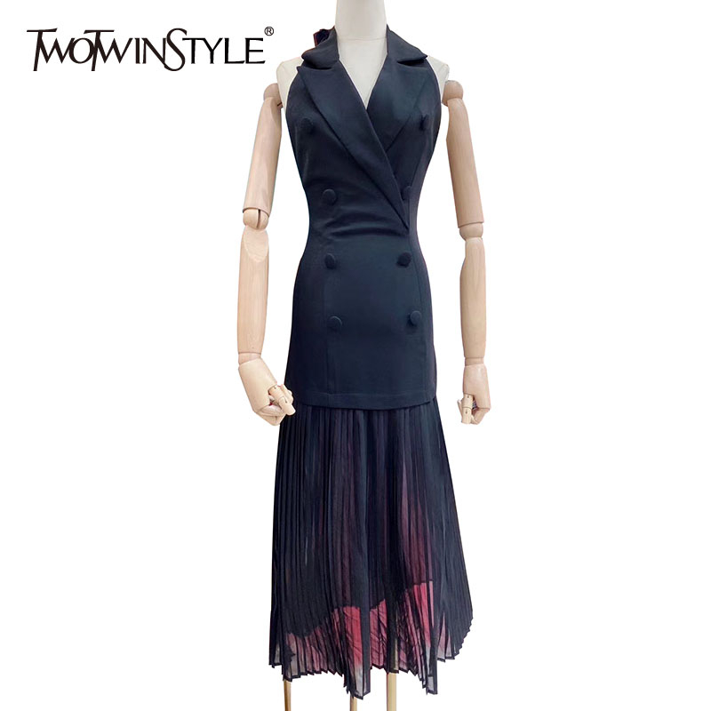 TWOTWINSTYLE Elegant Backless Dress For Women Halter Sleeveless Button High Waist Slim Pleated Dresses Female 2020 Summer New