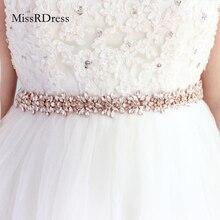MissRDress יהלומי חתונה חגורות רוז זהב קריסטל כלה חגורת Rhinestones פרח כלה אבנט לחתונה אביזרי חגורת JK817