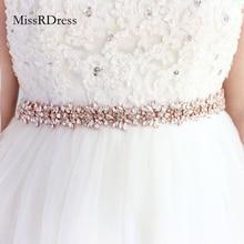 MissRDress diamant ceintures de mariage or Rose cristal ceinture de mariée strass fleur ceinture de mariée pour accessoires de mariage ceinture JK817