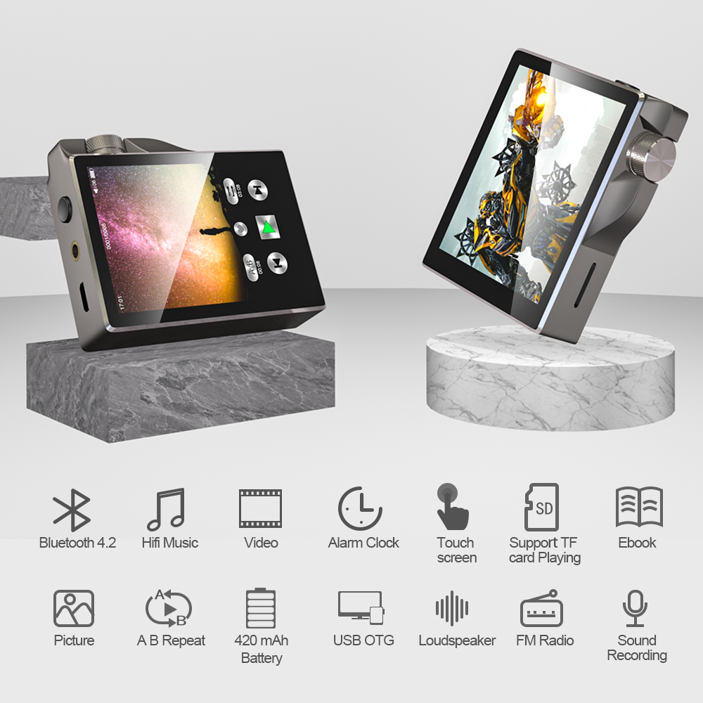 Hot DealsMp3-Player Speaker Walkman-Radio Audio-Recording Hi-Res Touch-Screen Hifi Bluetooth Portable