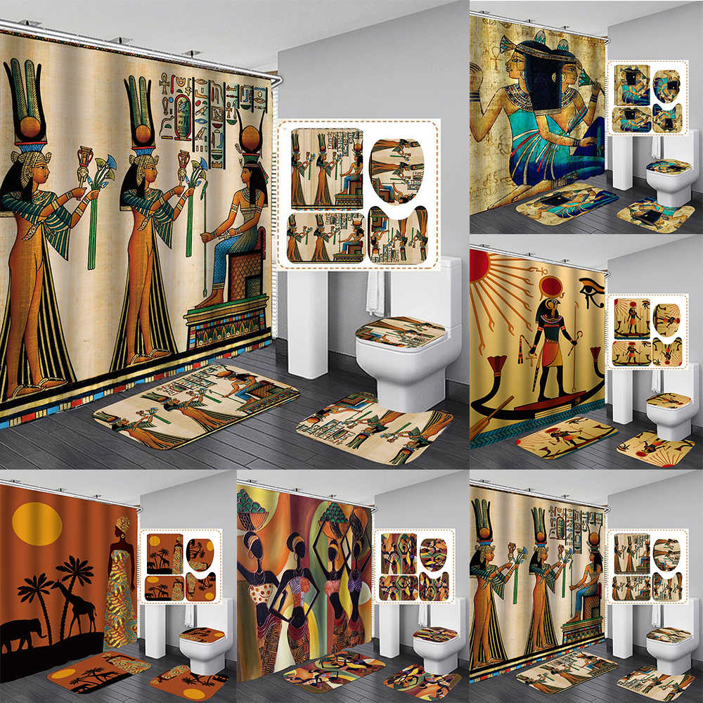 ancient egyptian women shower curtain polyester fabric 4 piece bathroom diy decor retro design carpet cover toilet mat
