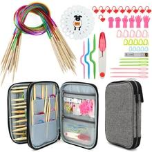 Breinaalden Set 18 Pcs 60 Cm Circulaire Bamboe Breinaalden Naaien Accessoires Set Diy Garen Craft Weave Knit Gereedschap met Zak