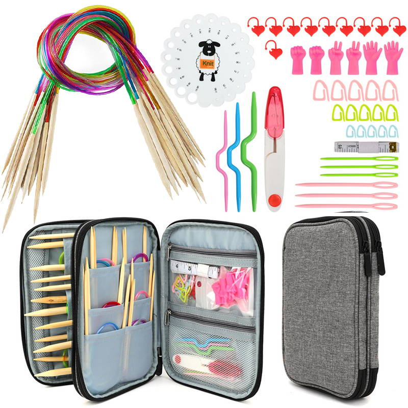 Knitting Needles Set 18pcs 60cm Circular Bamboo Knitting Needles Sewing Accessories Set DIY Yarn Craft Weave Knit Tools With BagSewing Needles   -