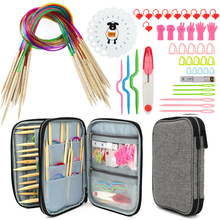 Knitting Needles Set 18pcs 60cm Circular Bamboo Knitting Needles Sewing Accessories Set DIY Yarn Craft Weave Knit Tools With Bag