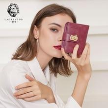 LAORENTOU Brand Women Standard Wallet Genuine Leather Wallets Fashion Short Zipper Purse Lady Coin Pocket Card Holder for Women цена