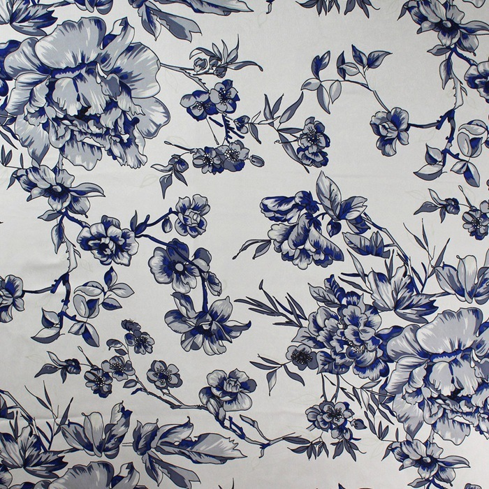 Silk Fabrics For Dresses Blouse Scarves Clothing Meter 100% Pure Silk Satin Charmeuse 16 Mill Blue White Printed Floral High-end