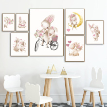 Watercolor Flower Moon Bunny Couple Nordic Posters And Prints Wall Art Canvas Painting Cartoon Pictures For Kids Room Decor